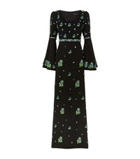 Andrew Gn Floral Sequin Flare Sleeve Gown Female Black