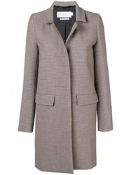 Closed Houndstooth Single Breasted Coat Brown