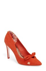 Ted Baker London Gewell Bow Pump Red Suede