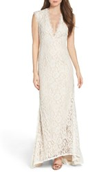Aidan Mattox Women's By Illusion Lace Column Gown