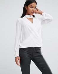 Lipsy Wrap Front Blouse With Choker Detail Cream