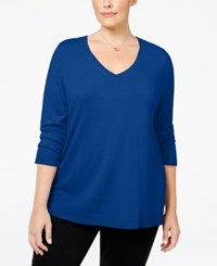 Karen Scott Plus Size V Neck Sweater Only At Macy's Deep Pacific