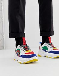 Asos Design Trainers In Primary Colour Pop And Chunky Sole White