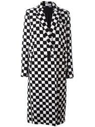Courreges Checked Long Coat Black