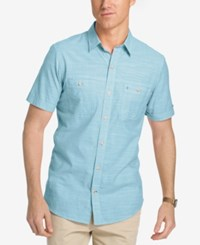 Izod Men's Dual Pocket Chambray Cotton Shirt Ethereal Blue