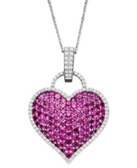 Macy's 14K White Gold Necklace Ruby 6 1 2 Ct. T.W. And Diamond 1 2 Ct. T.W. Pave Heart Pendant