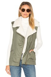 Sanctuary Alexis Faux Fur Trimmed Vest Army