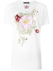 Alexander Mcqueen Floral Embroidered T Shirt White