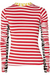 Preen Line Uri Ruched Striped Stretch Jersey Top Red
