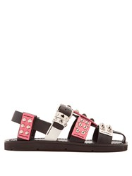Prada Stud Embellished Leather Sandals Pink White