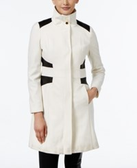 Via Spiga Faux Leather Trim Wool Blend Walker Coat Winter White