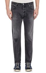 Re Done Leather Inset Skinny Straight Jeans Black