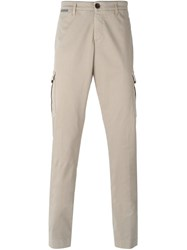 Eleventy Tapered Cargo Trousers Nude And Neutrals