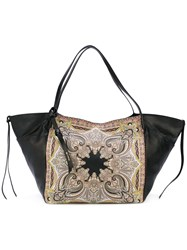 Etro Paisley Print Tote Women Leather One Size Black