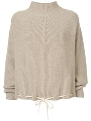 Bassike Drawstring Hem Sweater Brown