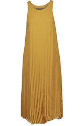 Enza Costa Pleated Chiffon Midi Dress Saffron