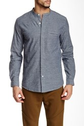 Shades Of Grey Band Collar Button Down Shirt Gray
