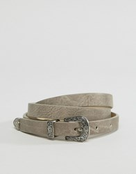 Pieces Skinny Western Belt Elephant Skin Grey