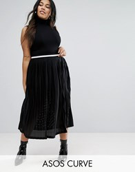 Asos Curve Pleated Midi Skirt With Sports Tipped Waistband Black