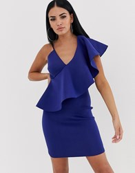 Lavish Alice Frill Bodycon Dress Blue