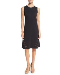 See By Chloe Sleeveless Embroidered Jersey Dress Black