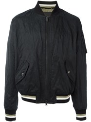 Ermanno Scervino Striped Detail Bomber Jacket Black