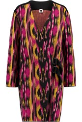 M Missoni Oversized Intarsia Wool Blend Coat Purple