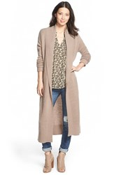 Petite Women's Caslon Long Cardigan Heather Tan Cobblestone