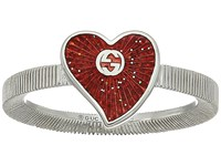 Gucci Enameled Heart Ring Silver Red Ring