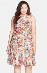 Plus Size Women's London Times Floral Print Tiered Drop Waist Fit And Flare Dress
