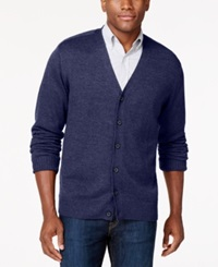 Tricots St Raphael Button Front V Neck Cardigan Indigo Heather