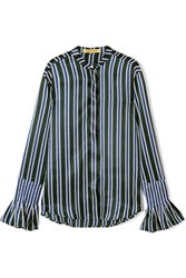 Maggie Marilyn It's A Lovely Day Striped Silk Satin Shirt Forest Green
