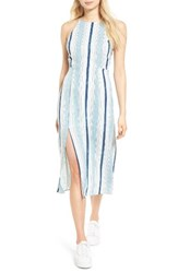 Lush Women's Strappy Back Midi Dress Denim Stripe