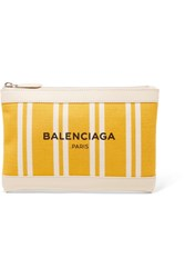 Balenciaga Leather Trimmed Striped Canvas Pouch Yellow