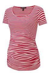 Isabella Oliver Jenna Maternity Top Red Off White Stripe