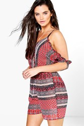 Boohoo Boho Print Cold Shoulder Beach Playsuit Red