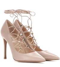 Valentino Rockstud Leather Lace Up Pumps Beige
