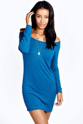 Boohoo Off The Shoulder Long Sleeve Bodycon Dress Teal