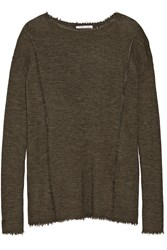 Helmut Lang Frayed Pointelle Trimmed Wool Sweater Dark Green