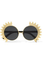 Linda Farrow Round Frame Gold Tone And Acetate Sunglasses Black