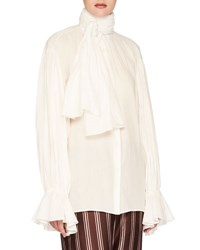 Burberry Washed Cotton Voile Tie Neck Top White