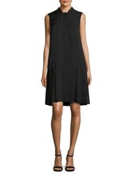 Lafayette 148 New York Minka Drop Waist Shirtdress Black