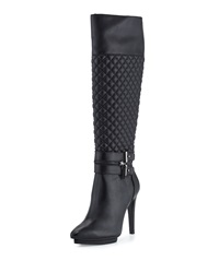 Neiman Marcus Quilted Leather Knee Boot Black