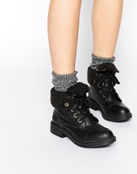 Blowfish Farina Foldover Shearling Lace Ankle Boots Blackoldsaddle