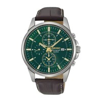 Seiko Snaf09p1 Men's Chronograph Leather Strap Watch Brown Green