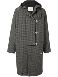 Msgm Hooded Checked Parka Grey