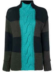P.A.R.O.S.H. Patchwork Turtleneck Sweater Green