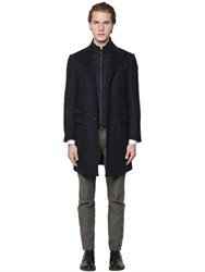 Corneliani Wool Coat And Quilted Front Panel