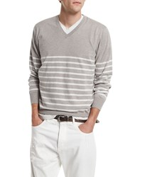Brunello Cucinelli Nautical Stripe V Neck Sweater Dove Alabaster Men's Size 48 S