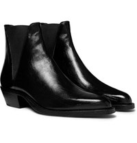 Saint Laurent Dakota Polished Leather Chelsea Boots Black